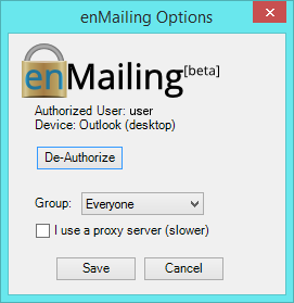 Outlook Settings Authorized